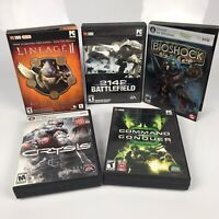 PC Game Bundle Lot of 5 Games Lineage 2 2142 Bioshock Crysis Command & Conquer