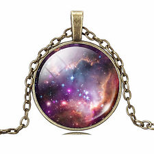 New Retro Vintage Galaxy Universe Photo Glass Dome Pendant Chain Necklace DIY