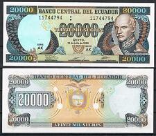 ECUADOR - 20000 SUCRES 1999   Pick # 129      SC  UNC