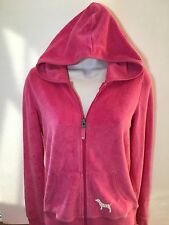 Victoria's Secret Hoodie Sweater Give Love Pink Size M Velour Silver Print Bling