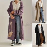 ZANZEA 8-24 Women Button Up Overcoat Long Coat Jacket Outerwear Cotton Cardigan