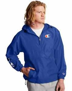 Champion Jacket Mens Packable Athletics C Logo Windbreaker Half Zip Hood Pockets
