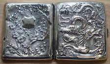 RARE SOLID SILVER MEIJI PERIOD DRAGON EMBOSSED CIGARETTE CASE + GOLD GILDING