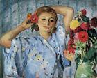 Jeune Femme Aux Fleurs Henri Lebasque Wall Art CANVAS Print Reproduction Small