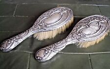 A Pair Of Birmingham HALLMARKED SILVER 925 Hair Brushes 1870 W I Broadway Co