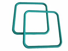 "Pair of 8"" Turquoise Square Marbella Plastic Macrame Craft Handbag Purse Handles"