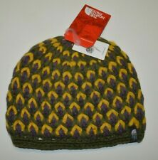 North Face Women's Men's Beanie Hat Briar One Size Hand Knit Fleece Line Yellow
