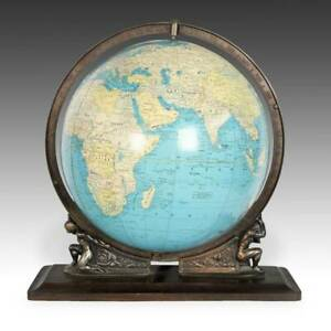TERRESTRIAL GLOBE ILLUMINATED GLASS BRASS PAPER INDIANAPOLIS USA MID 20TH C.