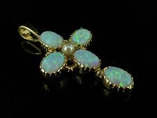 OPAL AND PEARL CROSS PENDANT 9CT GOLD