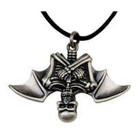 Vampire Skeleton Necklace Pendant Pewter Gothic Punk Horror Halloween Jewelry