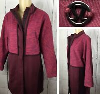 Lululemon Jacket Cocoon Car Coat Snap Front Marl Berry Rust Marron Women Sz S