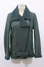 NWT $9995 Brunello Cucinelli 100% Leather Shearling Fur Coat W/Beading 42/M A191