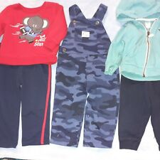 Lot of 5 Baby boys 12 months, navy overall, joggers red swetshirt aqua jacket