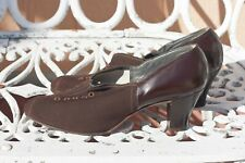 Vintage Women's 1930s Brown Stretchy Leather & Gabardine Shoes - sz 9-1/2