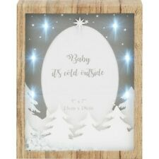 "Christmas Xmas 3D LED Light Up Box Photo Frame 5""x7"" Grey & White Wood Effect"