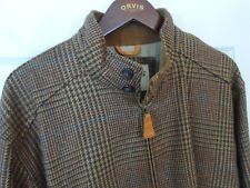 Orvis Brown Houndstooth Tweed Wool Harrington Bomber Jacket -- Mens M -- EUC!