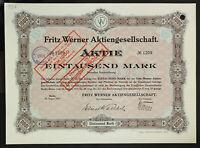 GERMANY 937/M -Fritz Werner Aktiengesellschaft 1000 Mark 1915 Berlin