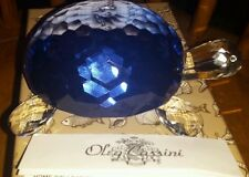 NIB OLEG CASSINI BLUE CRYSTAL TURTLE PAPERWEIGHT in Satin lined gift box #3911