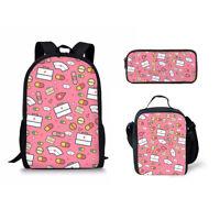 Pink Nurse's Style Backpack Shoulder School Bags Insulated Lunchbag Pen Case bag