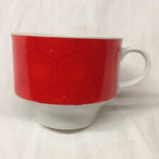 WUNSIEDEL BAVARIA GERMANY WUN13 CUP 8 OZ RED FLORAL BAND ON WHITE