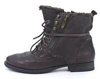 Women's Shoes Sam Edelman MACKAY Combat Boots Zipper Lace-Up Fur EBNO Brown