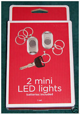 Mini LED Light Key Chain w/ Three Removable Key Rings - Set of 2 - Silver - New