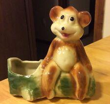 Vintage Ceramic Bear On Log Planter
