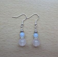 Unusual ROSE QUARTZ / BLUE LACE AGATE small  EAR RINGS St Silver Gift wrapped