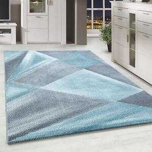 Kurzflor Designer Teppich Abstrakt Gemustert Wohnteppich Grau Blau Weiss Meliert