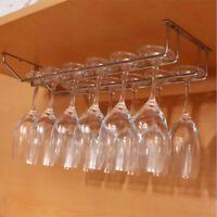Wine Glass Rack Under Cabinet Hanging Stemware Hanger Holder Organizer 2 Rows