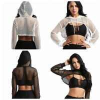 Women's Hooded Hoodie Sweatshirt Crop Top Coat Pullover Tops Cover UP Shirts