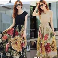 Womens Maxi Boho Floral Summer Beach Long Skirt Evening Cocktail Party Dress HOT