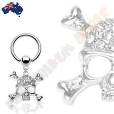 316L Surgical Steel Captive Bead Ring with Clear CZ Gem Skull Dangle