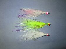 New listing 15 4/0 saltwater bucktail beaded teasers (white,chart.,pink & white)