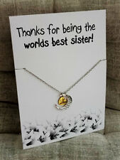 Thanks for Being the Worlds Best Sister Pendant love you Sister Gift Necklace