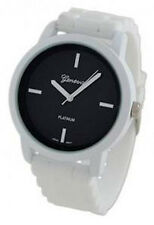 Geneva Platinum Women's Quartz Black Dial White Plastic / Silicone Watch 9856