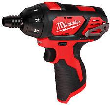 "Milwaukee Screwdriver M12V 1/4""Hex Cordless Power TOOL ONLY Screw Gun 2401-20"