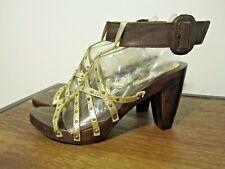 MORGAN DE TOI Wood & Leather Gold Gladiator style ankle strap Sandal EUR 37 US 6