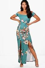 cd9d50fc82e66 Boohoo Kate Printed Bardot Maxi Split Dress Size 12 Teal UK FREEPOST