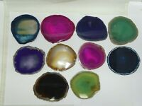 10 PIECE LG. ASSORTED COLORS  POLISHED AGATE SLICE SET #E102 - BEST PRICE