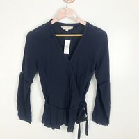 NEW Ann Taylor LOFT Lattice Wrap Blouse Top Navy Blue Career Long Sleeve Small