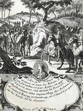 Roi Clodion in cavallo Ardennes Incisione originale Nicolas de Fer 1722