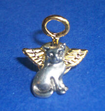 Pewter Angel Cat w/ Gold Electroplated Halo & Wings Lapel Pin * Cat Lover Gift!