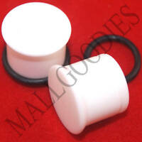"1309 White Acrylic Single Flare 1/2"" Inch Plugs 12.7mm MallGoodies 1 Pair"