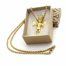 "Mens Gold Plated Stainless Steel Royalty Angel Pendant Hip-Hop 24"" Rope Chain"