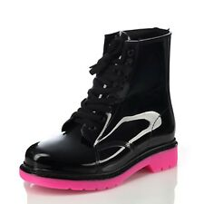 Ankle Boots Black And Pink Womens Clear Rubber Combat Summer Shoes Size UK 6