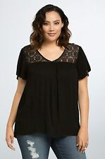 NWT TORRID Plus Size 5X Black Lace Inset Flutter Sleeve Top Blouse Boho (XX9)