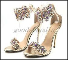 Chic Ladies Peep Toe High Heel Sandals Rhinestone Ankle Strap Nightclub Shoes UK