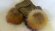 2 x Winter Hats With Large Fur Pom Pom Cap Knit Beanie One Brown & One Brown