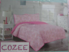 Cozee Quilts 3 Pc Full Quilt Shams Set,Pink Floral, New